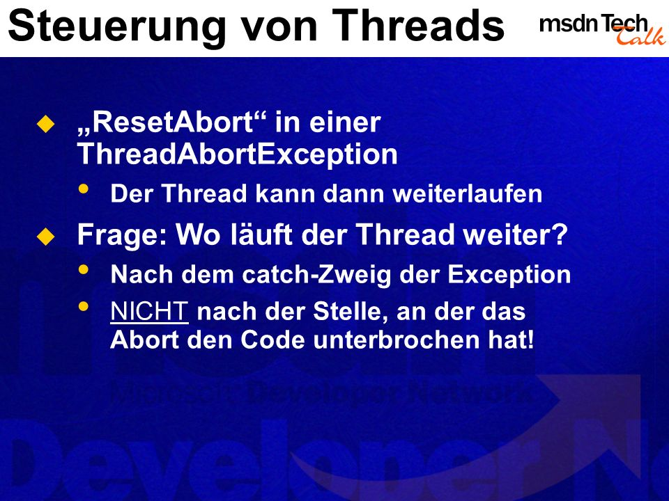 "Steuerung von Threads ""ResetAbort in einer ThreadAbortException"