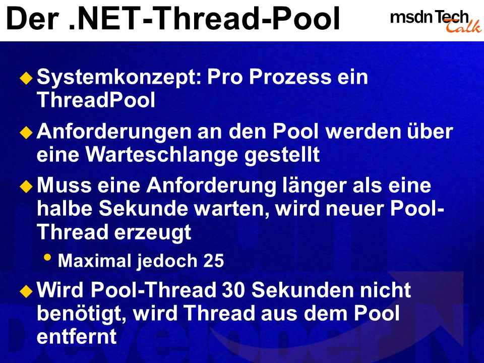 Der .NET-Thread-Pool Systemkonzept: Pro Prozess ein ThreadPool