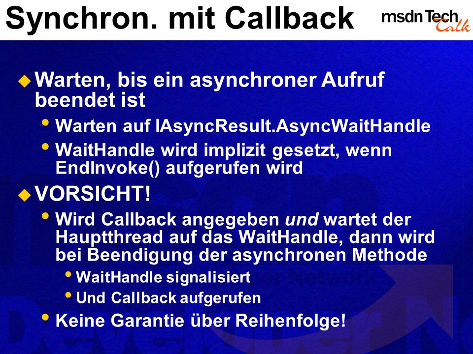 Synchron. mit Callback Warten, bis ein asynchroner Aufruf beendet ist