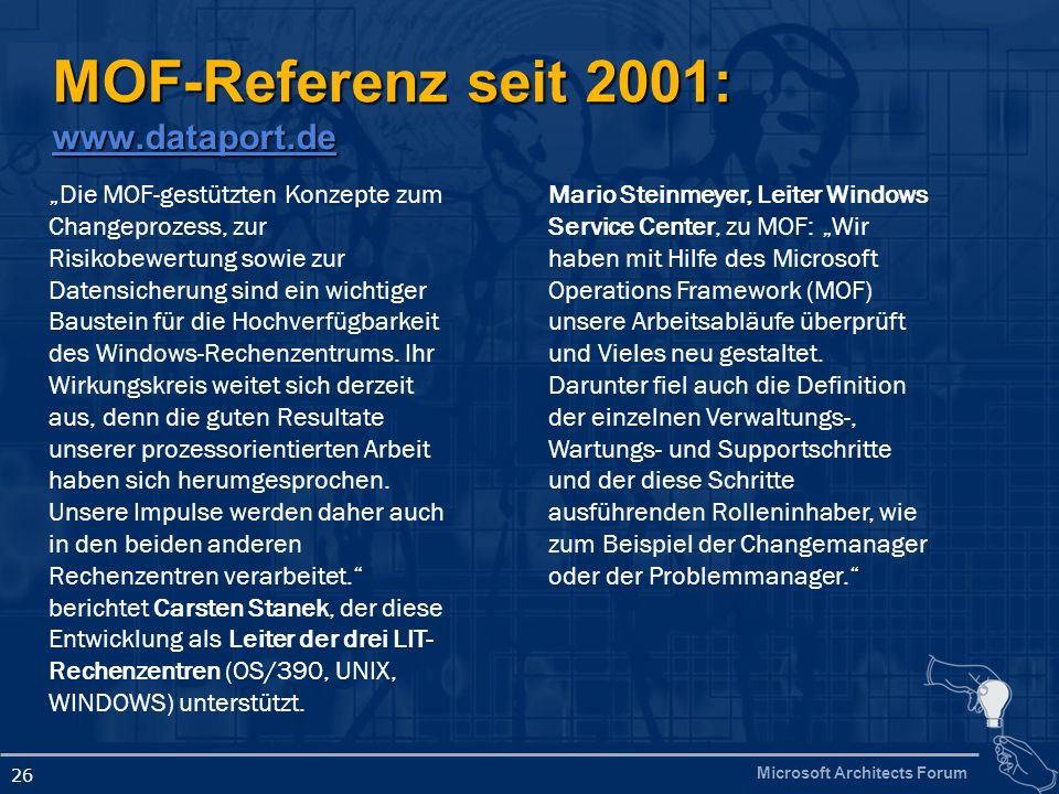 MOF-Referenz seit 2001: www.dataport.de