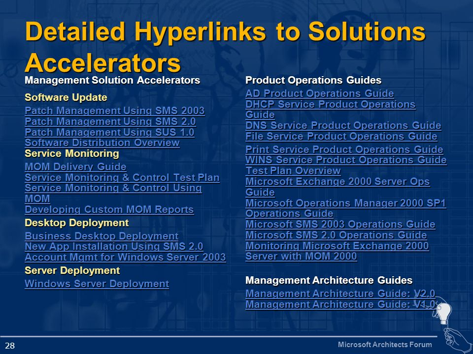 Detailed Hyperlinks to Solutions Accelerators