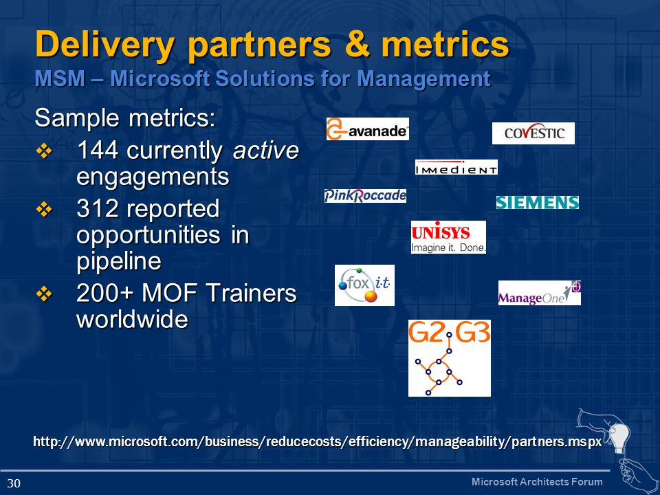 Delivery partners & metrics MSM – Microsoft Solutions for Management