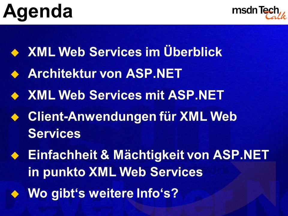 Agenda XML Web Services im Überblick Architektur von ASP.NET