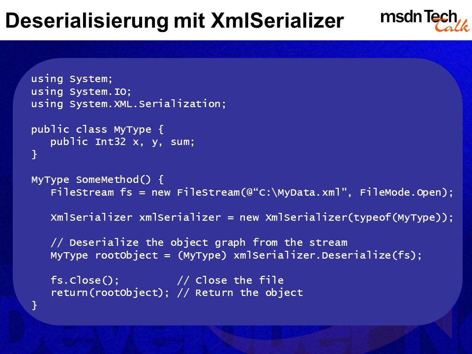 Deserialisierung mit XmlSerializer