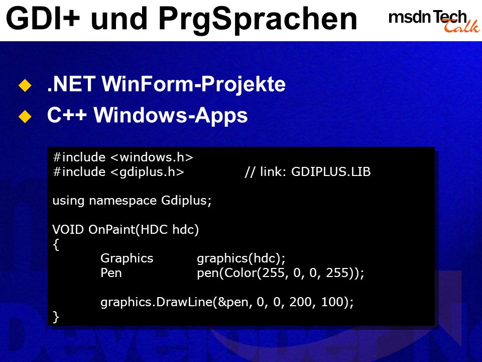 GDI+ und PrgSprachen .NET WinForm-Projekte C++ Windows-Apps