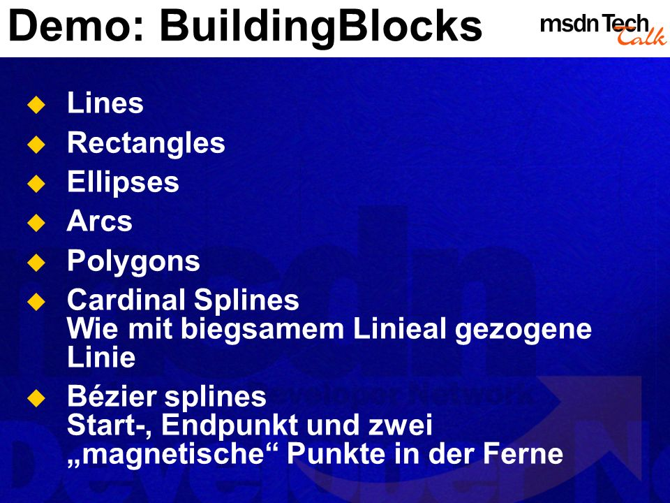 Demo: BuildingBlocks Lines Rectangles Ellipses Arcs Polygons
