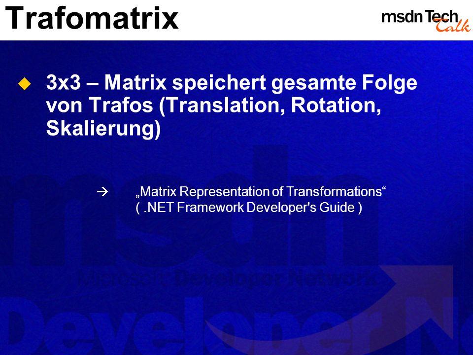 Trafomatrix 3x3 – Matrix speichert gesamte Folge von Trafos (Translation, Rotation, Skalierung)