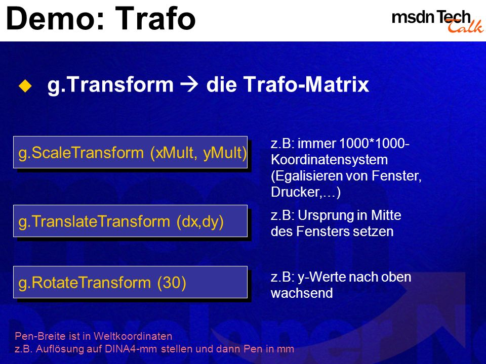 Demo: Trafo g.Transform  die Trafo-Matrix