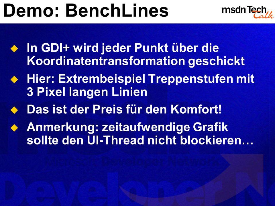 Demo: BenchLines In GDI+ wird jeder Punkt über die Koordinatentransformation geschickt. Hier: Extrembeispiel Treppenstufen mit 3 Pixel langen Linien.