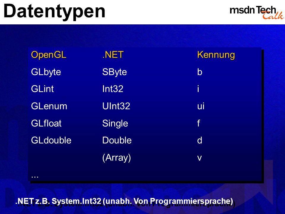 Datentypen OpenGL .NET Kennung GLbyte SByte b GLint Int32 i