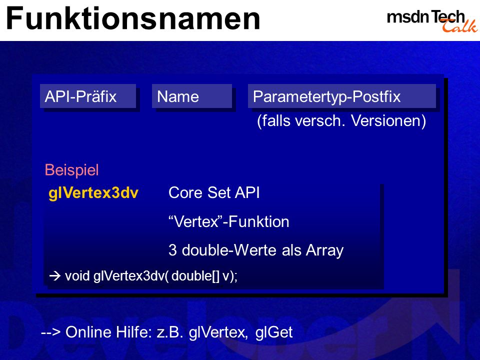 Funktionsnamen API-Präfix Name Parametertyp-Postfix
