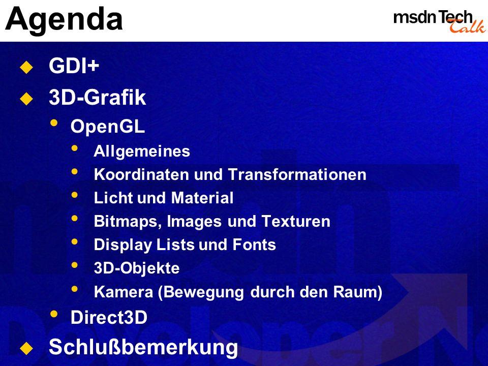 Agenda GDI+ 3D-Grafik Schlußbemerkung OpenGL Direct3D Allgemeines