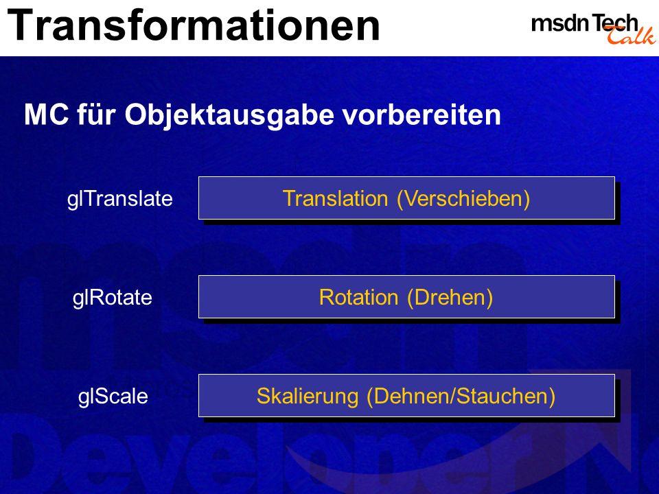 Transformationen MC für Objektausgabe vorbereiten