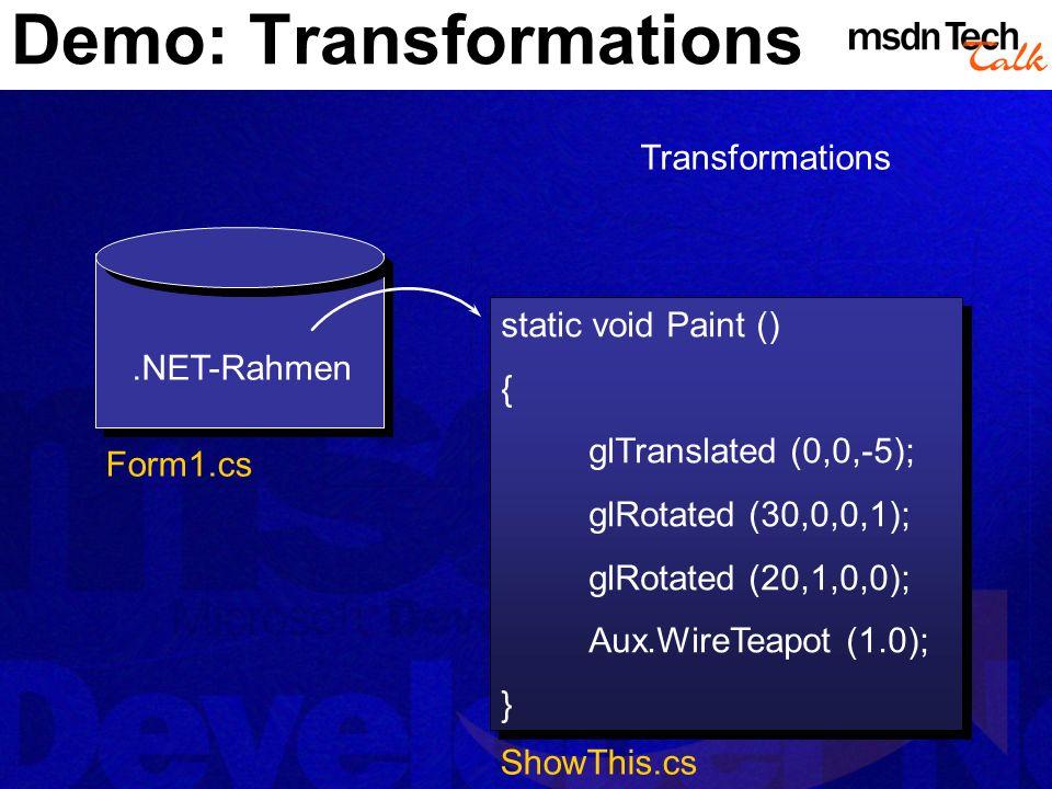 Demo: Transformations
