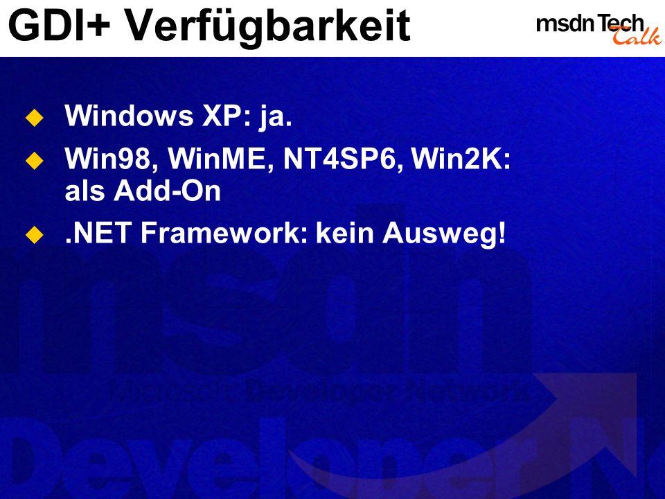 GDI+ Verfügbarkeit Windows XP: ja.