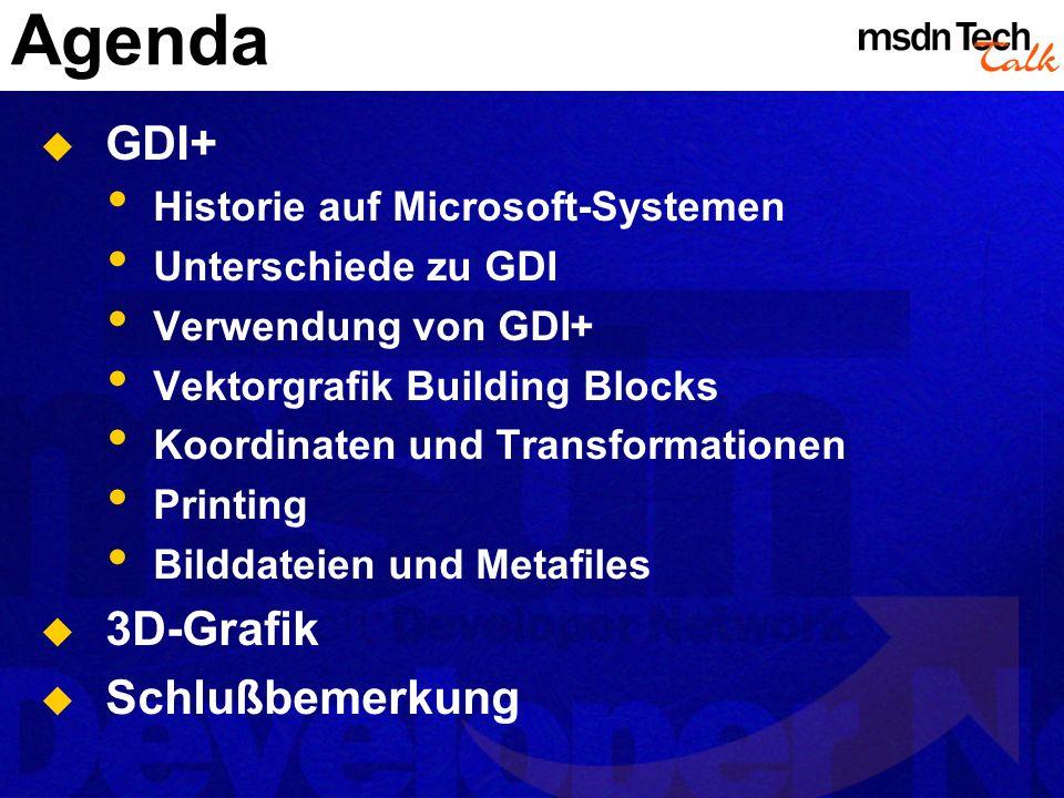 Agenda GDI+ 3D-Grafik Schlußbemerkung Historie auf Microsoft-Systemen