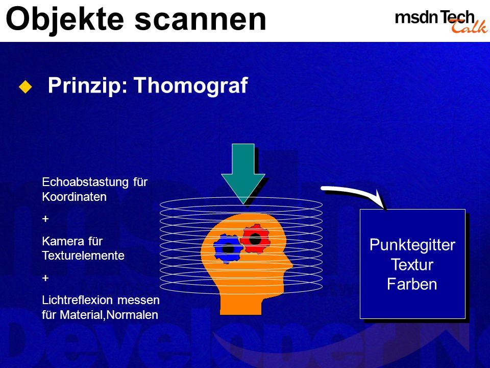 Objekte scannen Prinzip: Thomograf Punktegitter Textur Farben