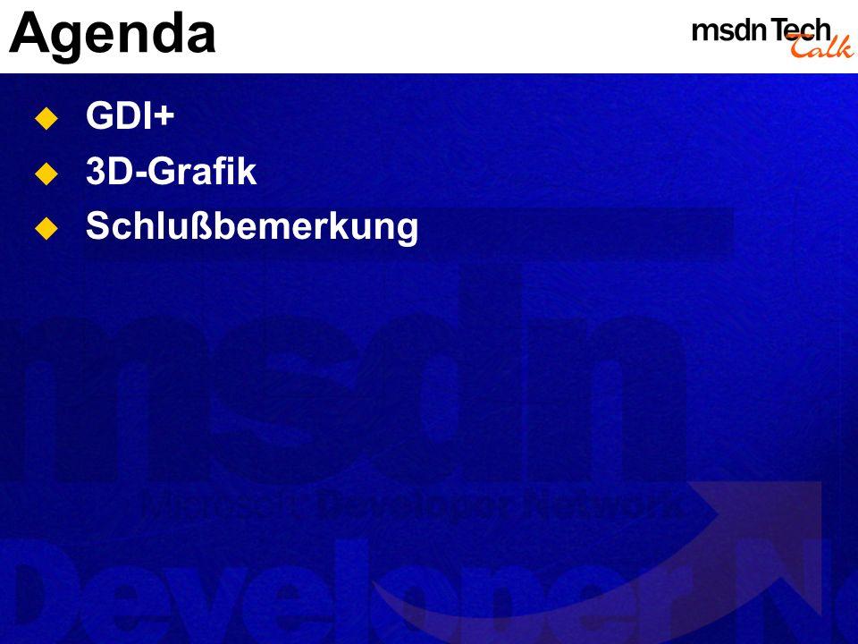 Agenda GDI+ 3D-Grafik Schlußbemerkung