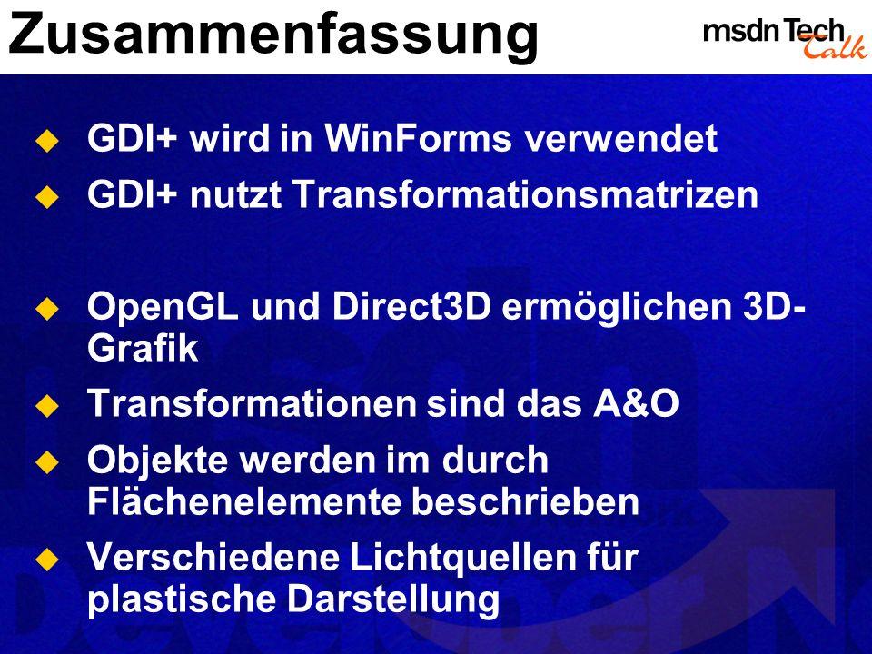 Zusammenfassung GDI+ wird in WinForms verwendet