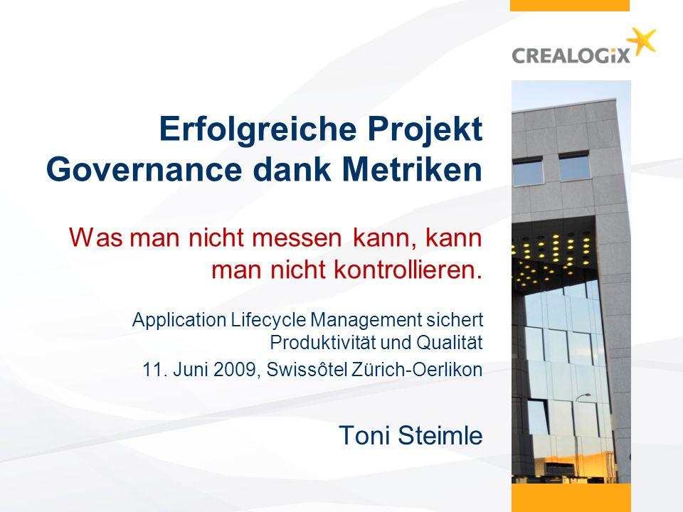 Erfolgreiche Projekt Governance dank Metriken Was man nicht messen kann, kann man nicht kontrollieren.