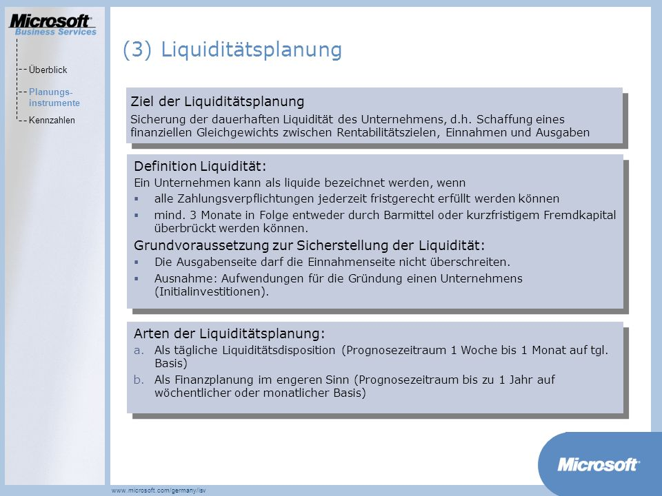 (3) Liquiditätsplanung