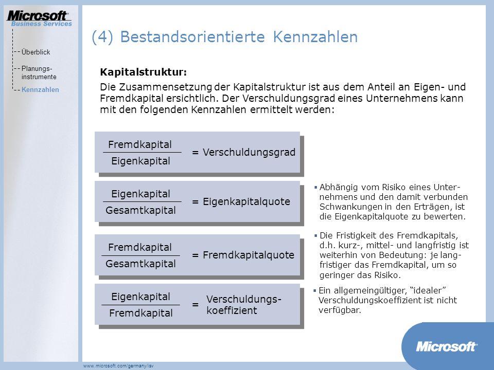 (4) Bestandsorientierte Kennzahlen