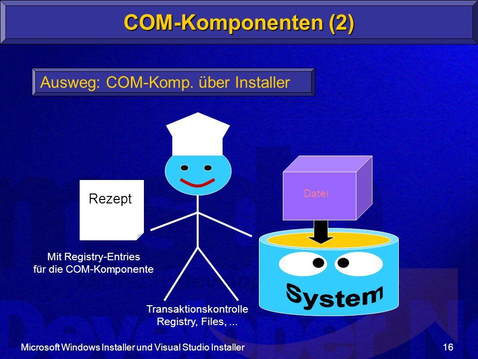System COM-Komponenten (2) Ausweg: COM-Komp. über Installer Rezept