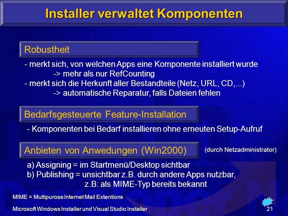 Installer verwaltet Komponenten