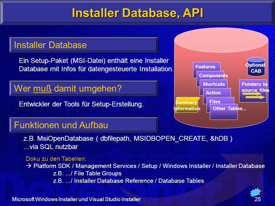 Installer Database, API
