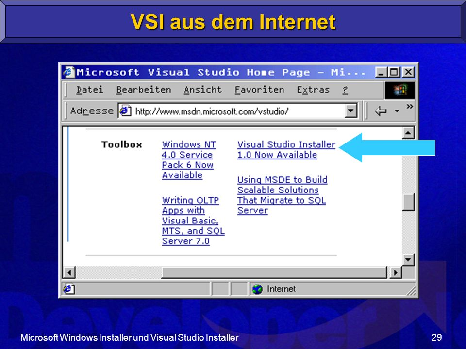 VSI aus dem Internet Microsoft Windows Installer und Visual Studio Installer