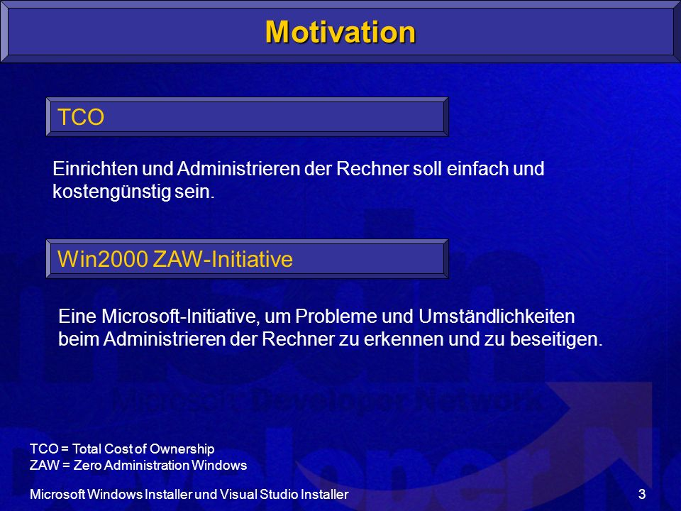 Motivation TCO Win2000 ZAW-Initiative