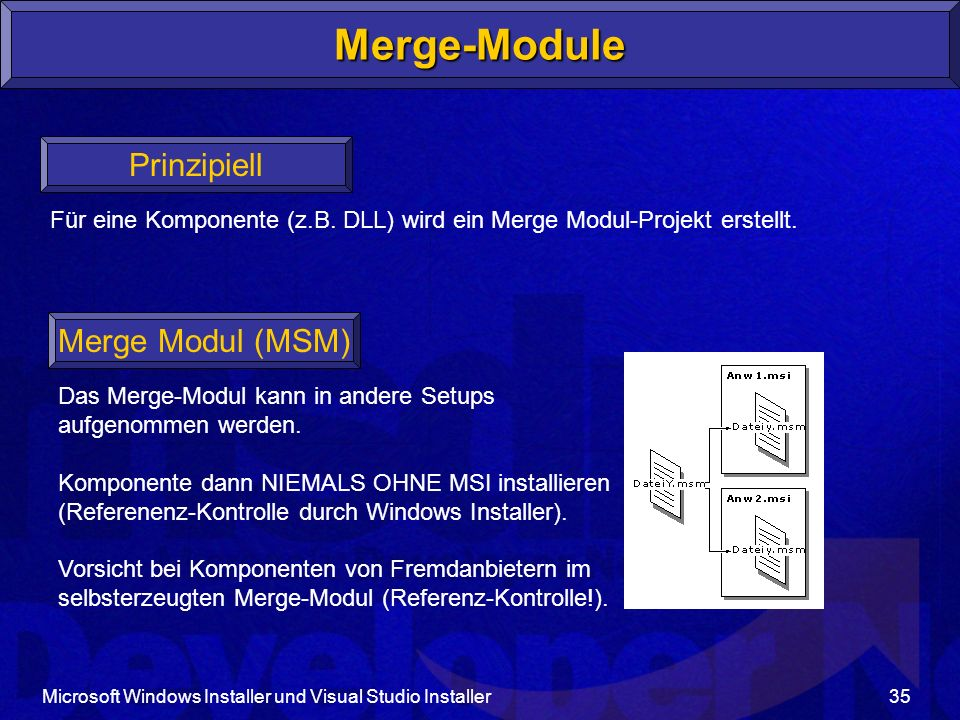 Merge-Module Prinzipiell Merge Modul (MSM)