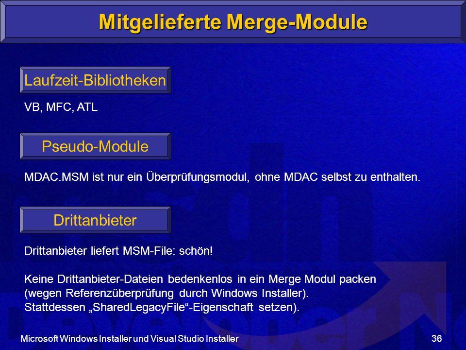 Mitgelieferte Merge-Module