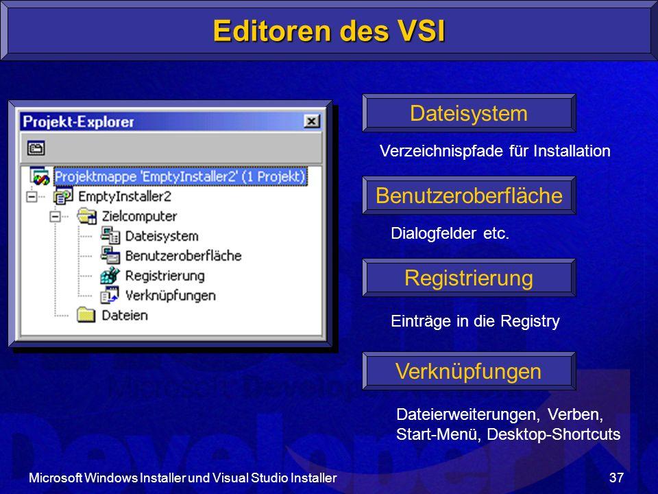 Editoren des VSI Dateisystem Benutzeroberfläche Registrierung