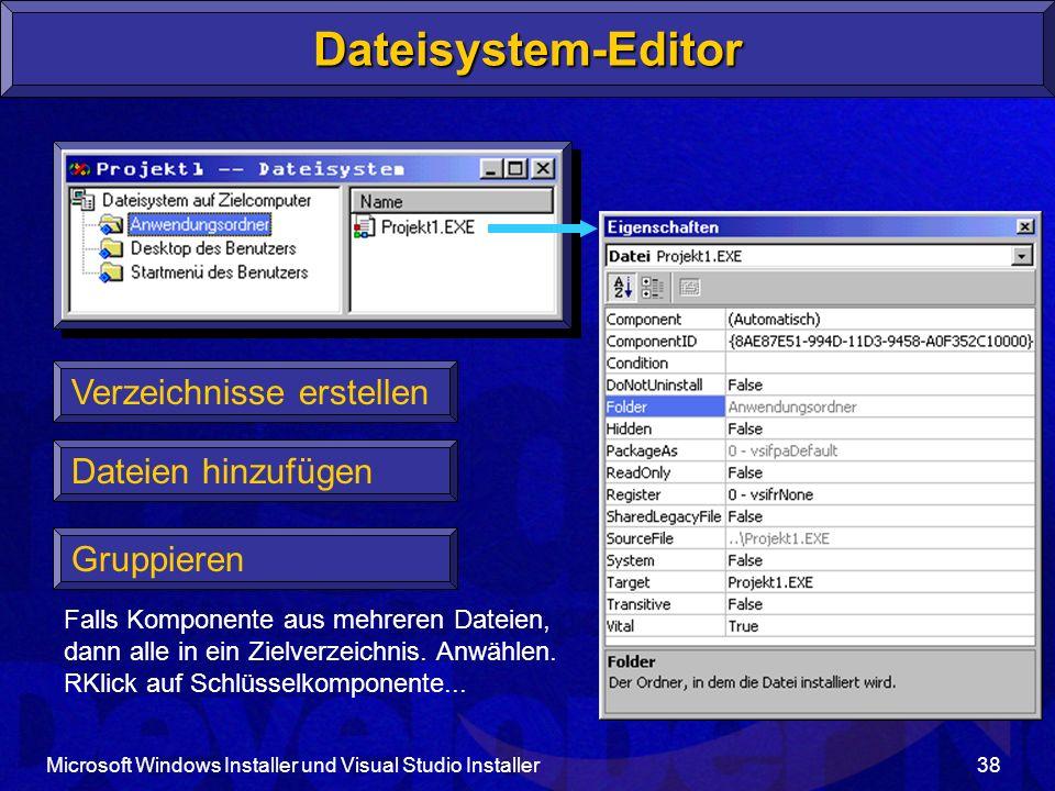 Dateisystem-Editor Verzeichnisse erstellen Dateien hinzufügen