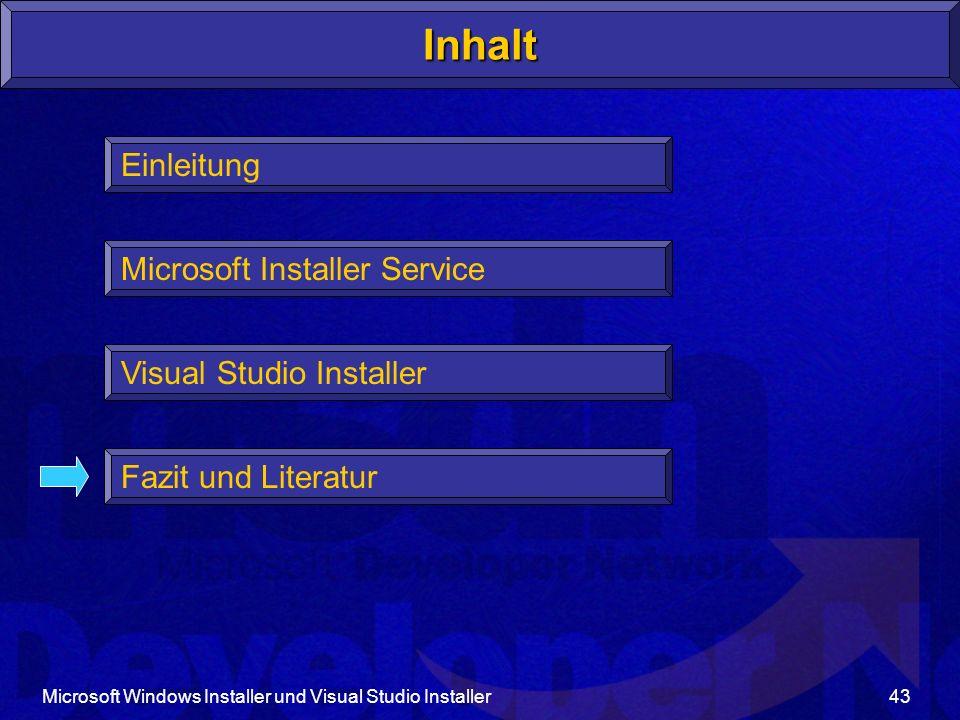 Inhalt Einleitung Microsoft Installer Service Visual Studio Installer