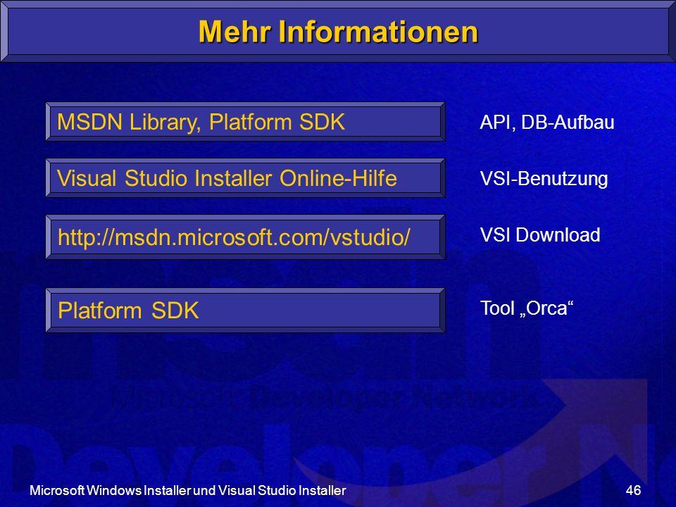 Mehr Informationen http://msdn.microsoft.com/vstudio/ Platform SDK