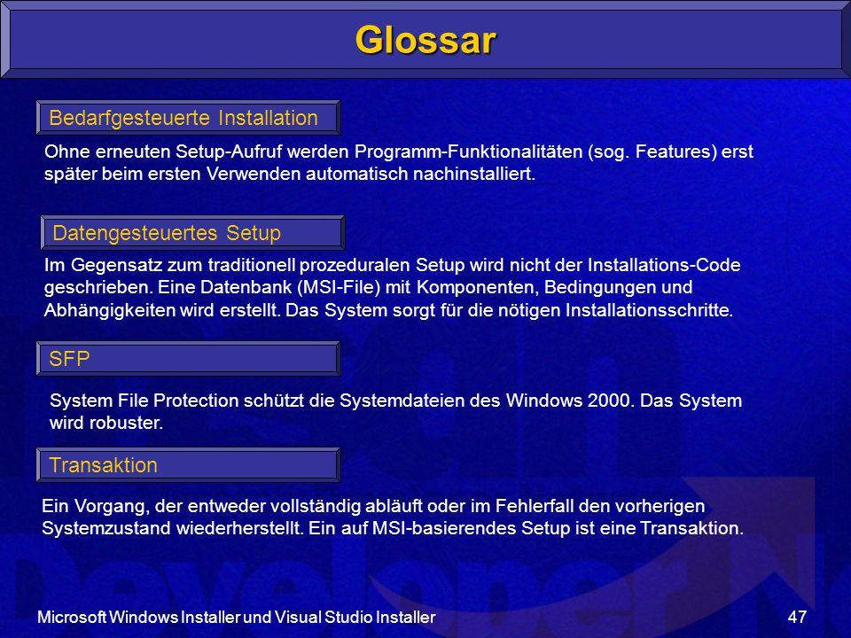 Glossar Bedarfgesteuerte Installation Datengesteuertes Setup SFP