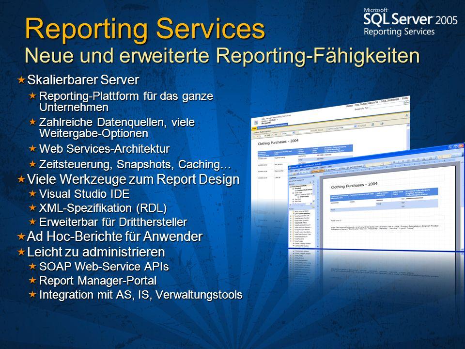Reporting Services Neue und erweiterte Reporting-Fähigkeiten
