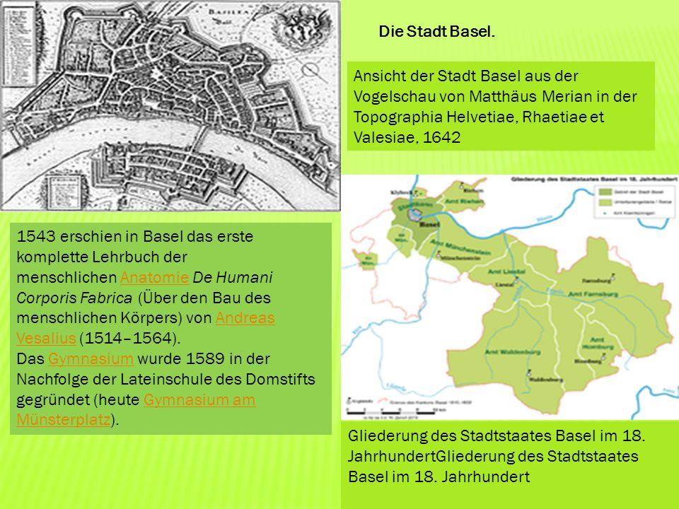 Die Stadt Basel. Ansicht der Stadt Basel aus der Vogelschau von Matthäus Merian in der Topographia Helvetiae, Rhaetiae et Valesiae, 1642.