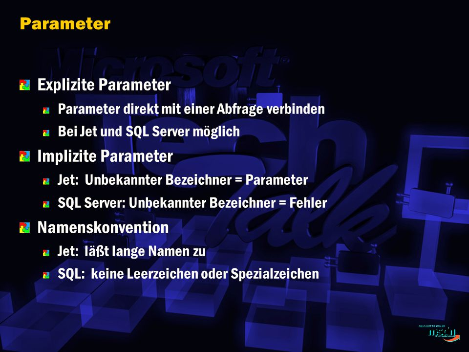 Parameter Explizite Parameter Implizite Parameter Namenskonvention