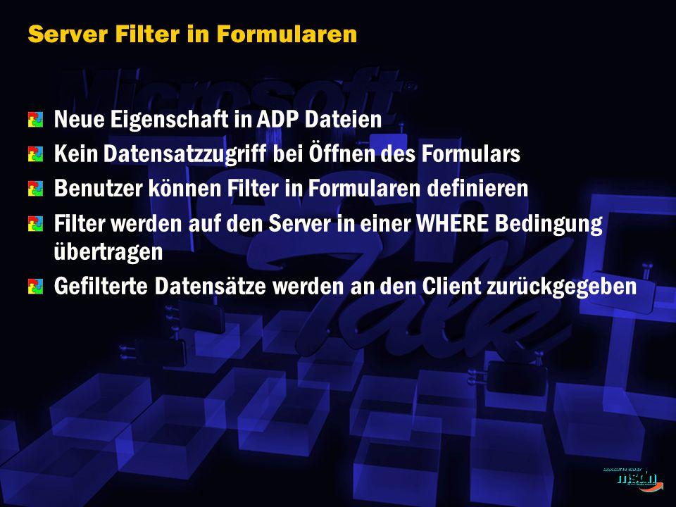 Server Filter in Formularen