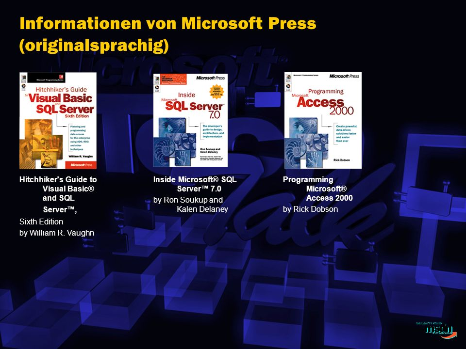 Informationen von Microsoft Press (originalsprachig)