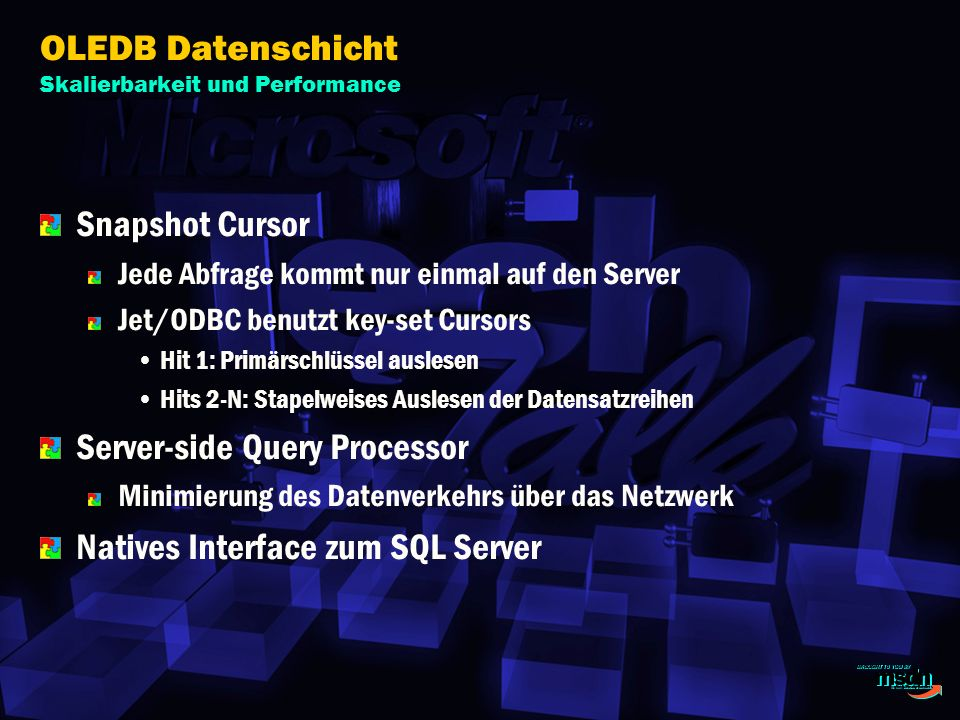 OLEDB Datenschicht Skalierbarkeit und Performance