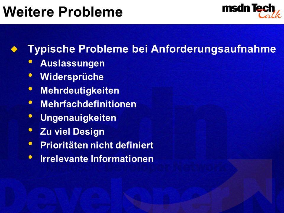 Weitere Probleme Typische Probleme bei Anforderungsaufnahme