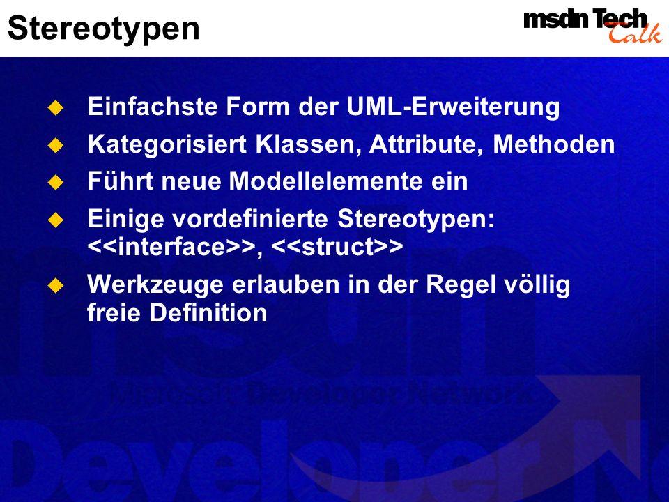 Stereotypen Einfachste Form der UML-Erweiterung
