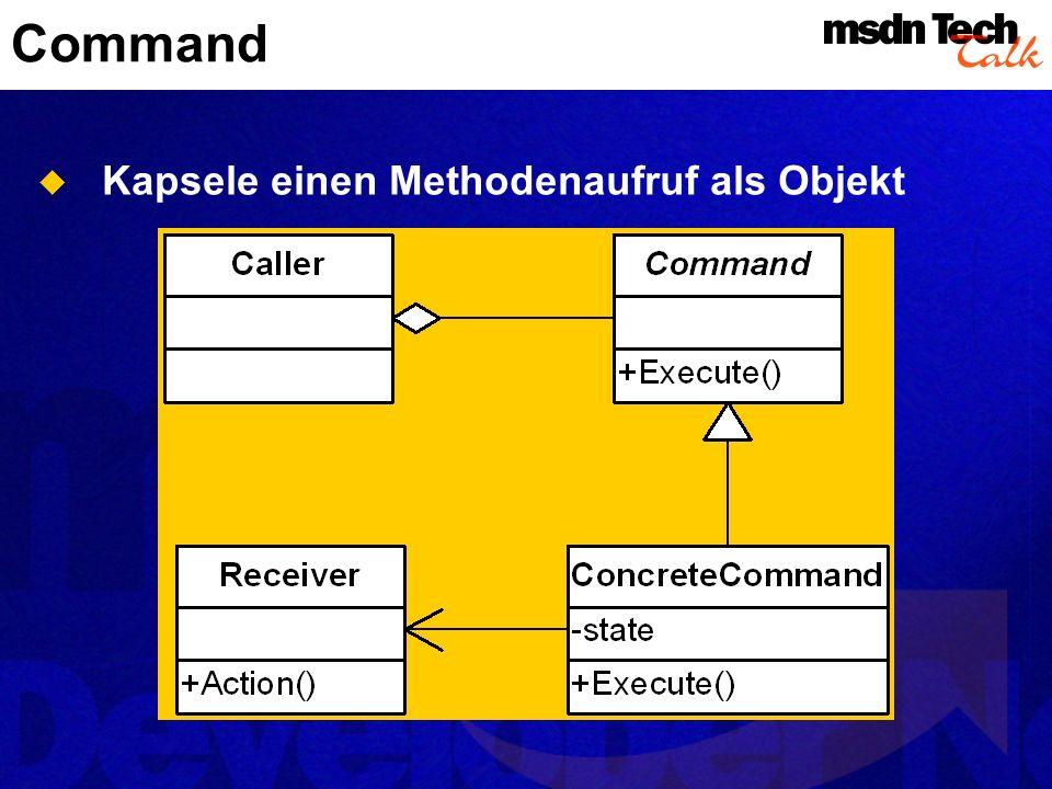 Command Kapsele einen Methodenaufruf als Objekt