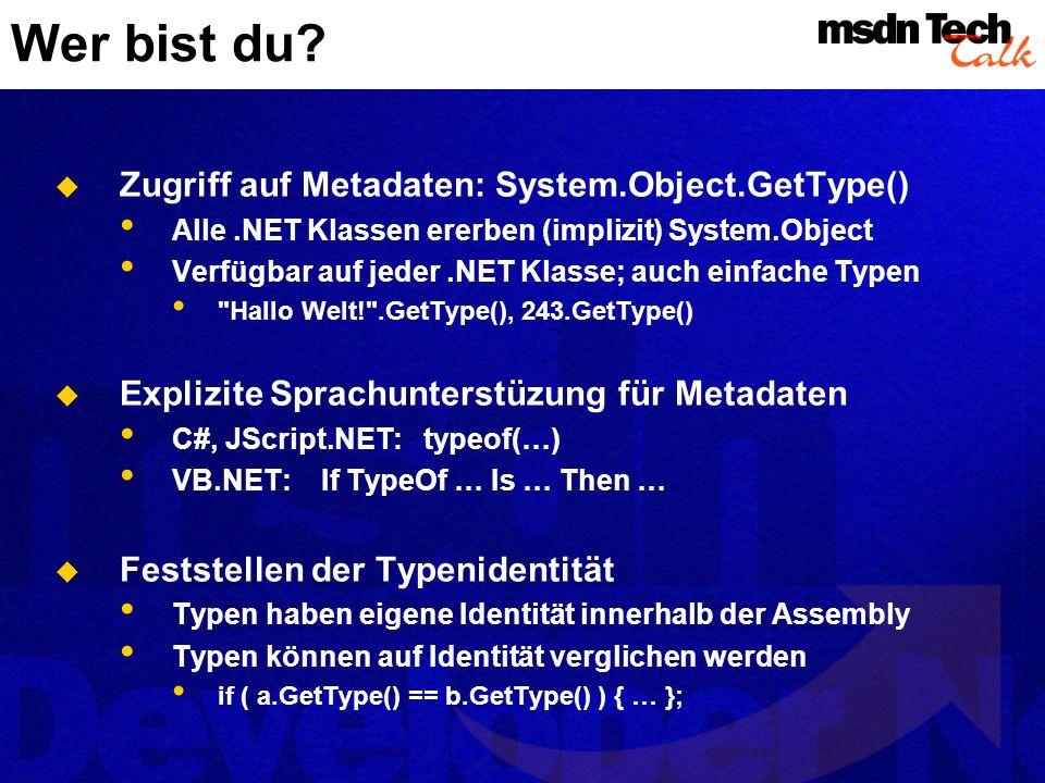 Wer bist du Zugriff auf Metadaten: System.Object.GetType()
