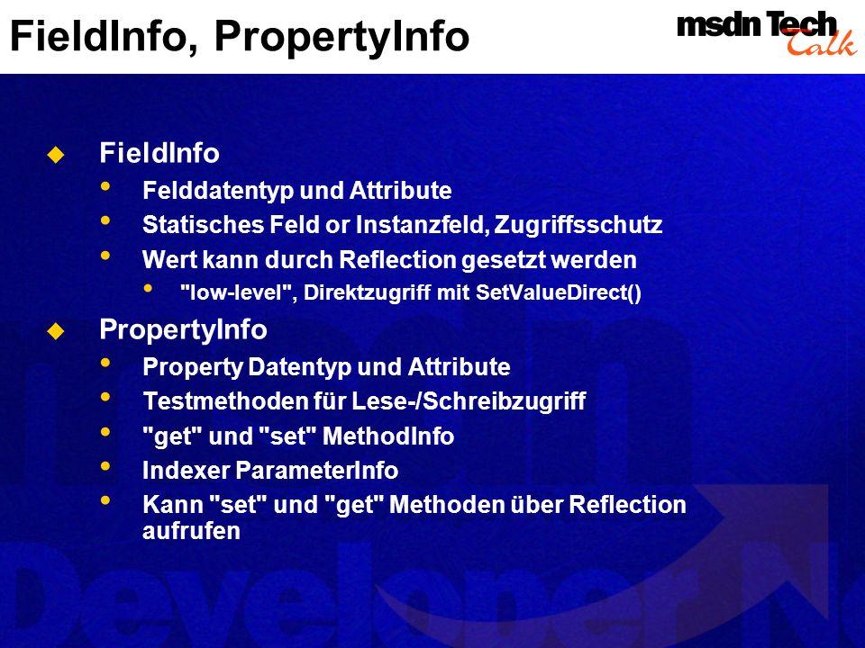 FieldInfo, PropertyInfo