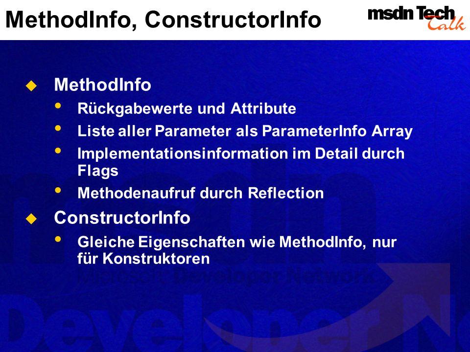 MethodInfo, ConstructorInfo